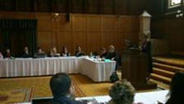 Mª Jesús Ortiz Gómez,  jefa de Relaciones Externas del Instituto de la Mujer, durante la presentación
